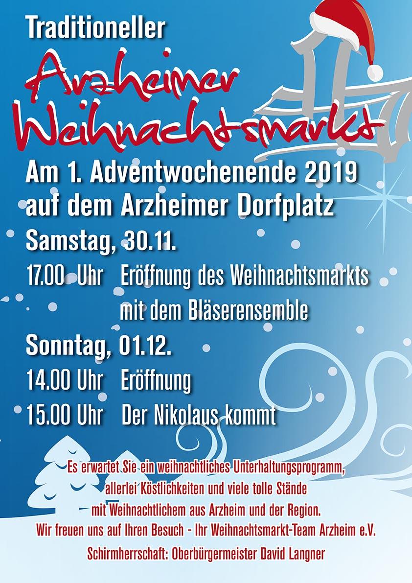 Programmzettel Arzheimer Weihnachtsmarkt 2019